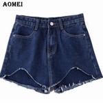Fashion Button Invisible Zipper Fake Denim Shorts
