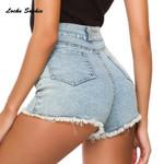 High waist Fashion cotton Splicing Skinny Sexy denim short