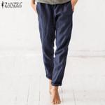 Casual Long Trouser Cotton Pockets Elastic Waist Vintage Pants