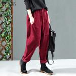 Long Trousers Vintage Harem  Elastic Waist Pants