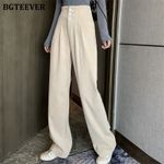 High Waist Buttons Wide-legged Casual Thicken Corduroy Pants
