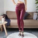 High Waist Faux Leather Fashion Sexy Thin   Leggings