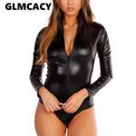 Zipper PU Leather  Slim Long Sleeves Sexy  Bodysuit