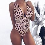 Fashion  Sexy v neck Leopard print bodysuits