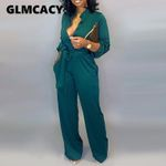 Casual Long Elegant  Button Up Self Belted Pocket Jumpsuit