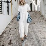Sexy Short Sleeve Button Straight Casual Cotton Jumpsuit