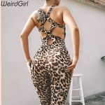 elastic fitness sleeveless skinny  leopard sexy jumpsuits
