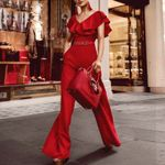 Belt Sexy Off Shoulder Elegant Ruffle Jumpsuit