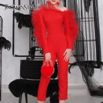 Skew Collar Long Sleeve  Patchwork Mesh Ruffle Slim Jumpsuits