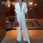 V Neck Lantern Sleeve High Waist Slim Elegant Jumpsuit
