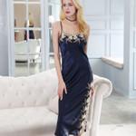 Sexy  Silk Long  Nightgown Nightie Sleepwear