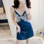 Satin Sexy Lingerie Lace  V-Neck  Nightgowns Silk Sleepwear