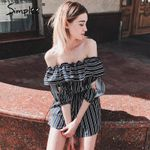 Elegant hollow out flare sleeve Off shoulder ruffle stripe romper