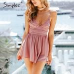 Backless bow  print V neck strap sexy lace romper