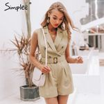 Elegant sashes cotton  pockets button zipper rompers