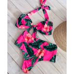 High Waist  Cute  Ruffle Sexy Leaf Print Bikini