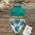Teal And Palm Print High-neck Halter Bikini