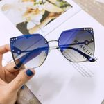 Cat Eye Rimless Vintage Frame  Square Sunglasses