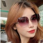 Metal shades Fashion Luxury Rhinestone  Rimless Square Sunglasses