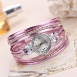 Leather Thin Strap  Luxury Crystal Bracelet Watch