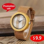 Casual Wristwatch  Leather Band  Wood Watch