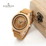 Skeleton Deer Buck Head Design Quartz Wood Watch