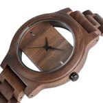 Bangle Quartz Unique Hollow Dial Natural Wood Watch