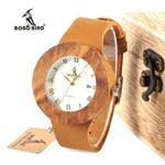 Quartz Unisex Calendar Zebra Wooden Watch