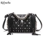 Luxury Rock Genuine Leather Tassels Skull Handbag