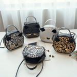Cute Cat Shoulder  Leopard Print PU Leather Handbag