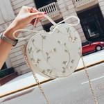 PU Leather  Lace Flower Tote  Heart-shaped Handbag