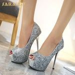 Peep Toe Slip-On Bling  Fashion Thin High Heels
