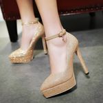 Elegant bling pointed toe  thin High Heels