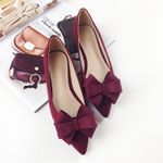 grace comfortable Bow-tie pointed slip on flat shoes