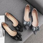 fabric loafers  pointed toe plaid flat shoes