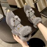 pattern loafers pointed toe glitter fur  flats shoes