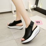 Fashion  Vintage Wedges Peep Toe Sandal Flat Shoes