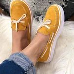 Casual Suede Bow Tie Slip On Shallow Comfort  Flats Shoes