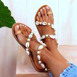 Peep Toe Casual  Flat Shell Pearl Sandals