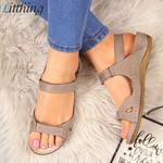 Fashion Leather Peep Toe Flat Sandals