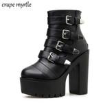 Strap Block Buckle  Platform  Ankle Boots