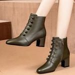 Leather Short Button  High Heel  Ankle Boots