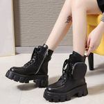 PU Short Lace Up Combat Ankle Boot