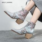 embroidered high heel ankle boots