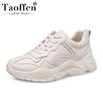 Lace Up Round Toe Vulcanized  Leather Sneakers