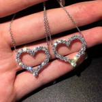 Jewelry Shiny  Love Heart Shape Pendant Necklace