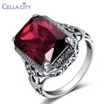 Jewelry Rectangle Gemstones Luxury Geometry Ruby Ring
