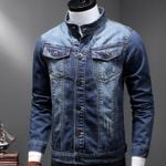 Classic Retro Washed Stand Collar Casual Denim  Jacket