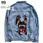 Funny Dog Printed Fashion Hip Hop Denim Jacket