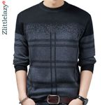 casual thick warm plaid knitted pull sweater